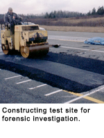 Paving construction for forensic testing